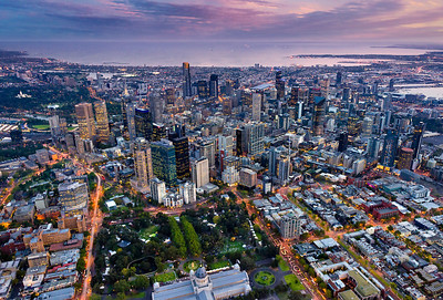 Lensaloft high above Melbourne's Carlton Gardens