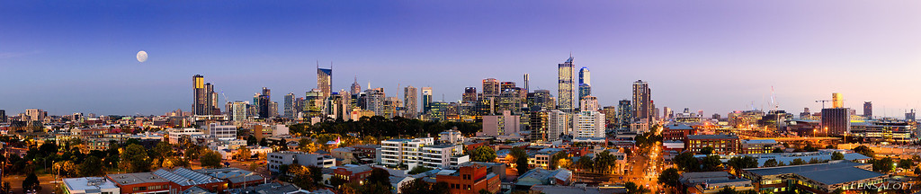 """Rising with the moon. A hero panorama captured above West Melbourne to showcase an upcoming development in West Melbourne. The most common question I receive on this one would have to be """"Is the moon real?"""". Answer: YES it most definitely is."""