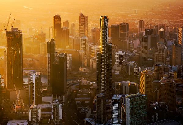 Sunset over Southbank Melbourne