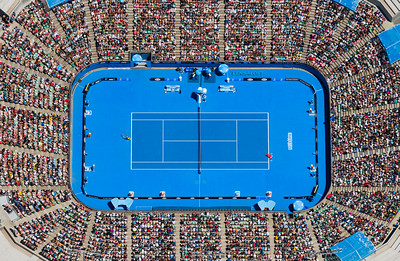 """""""Match Point"""" - Lensaloft above the 2013 Australian Open. Awarded """"Best Commercial Aerial Photography"""" and """"Aerial Photograph of the year"""" for 2013."""